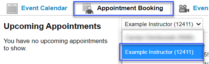 Screenshot highligting the link to select the instructor in the Appointment Booking tab.