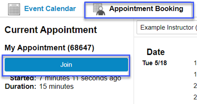 Screenshot highligting the link to Join in the Appointment Booking tab.