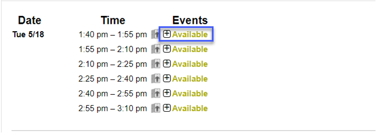 Screenshot highligting a block of available appointments.