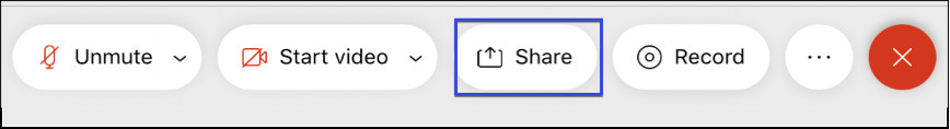Screenshot of the WebEx meeting controls, highlighting the Share Content button.