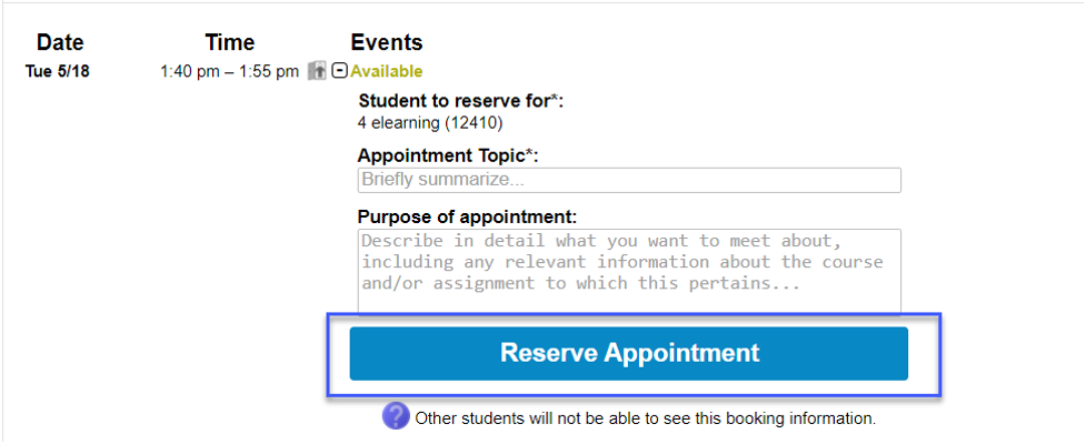 Screenshot highligting the link to Reserve Appointment.