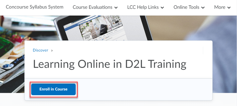 Enroll in Course button highlighted.