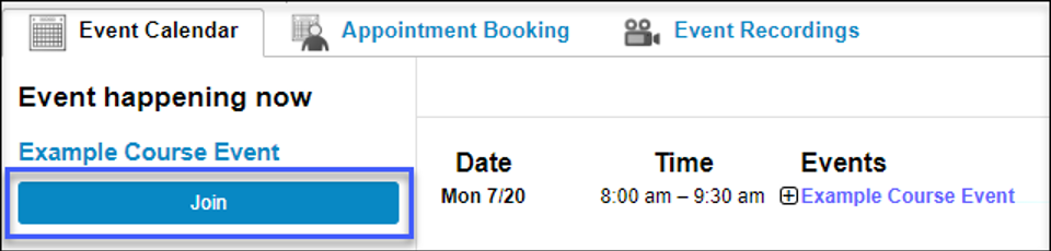 From the Event Calendar tab, select Join to launch the scheduled meeting