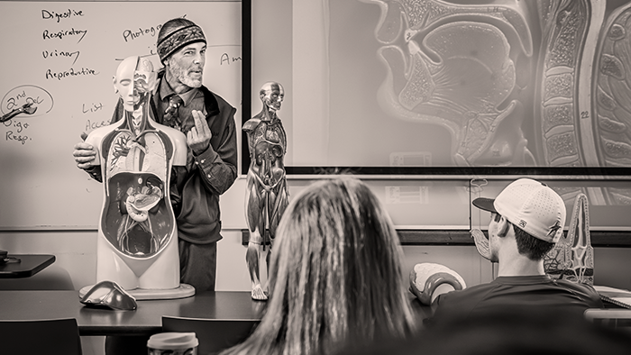 An instructor teaches inf front of many medical students.