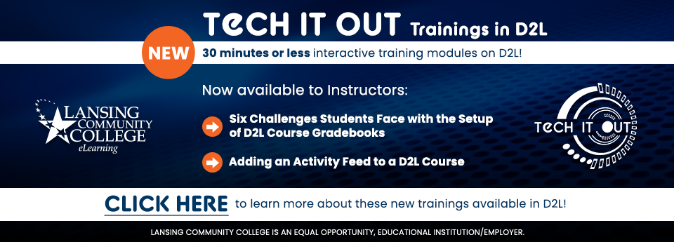 Learn more about the new Tech It Out trainings available to instructors in D2L.