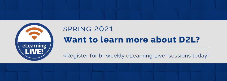 Register now for bi-weekly eLearning Live sessions.