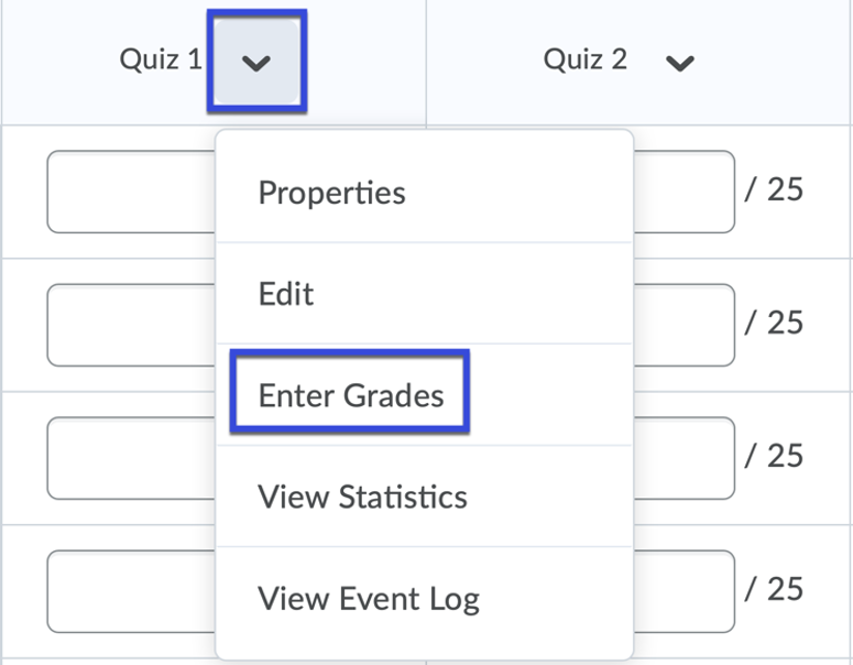 Item in which to leave feedback for with Grade All selected from the drop-down menu.