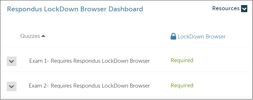 """Look for """"Required"""" to verify that the Lockdown Browser settings are activated and working."""