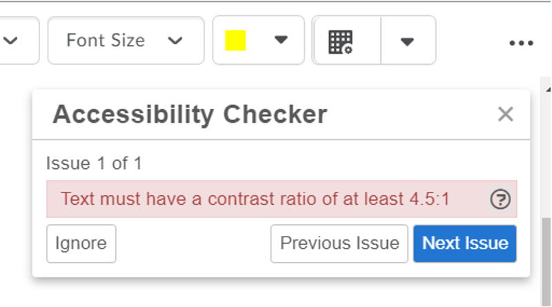 Pop-up showing an accessibility error.