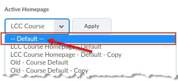 Selecting Default from the drop-down.