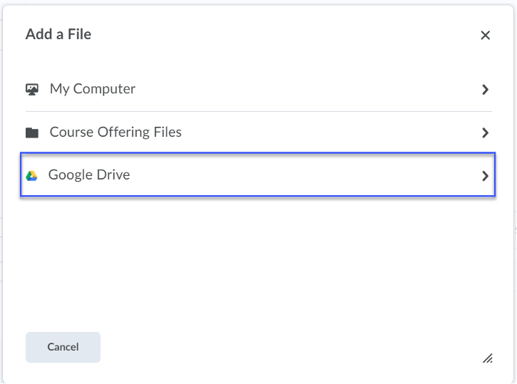Select Google Drive from the Add a File menu.
