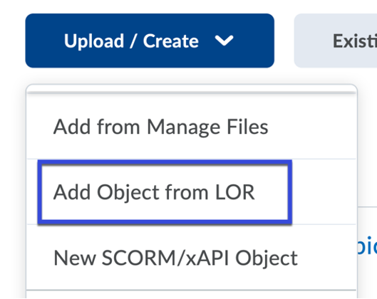 Select Add Object from LOR.