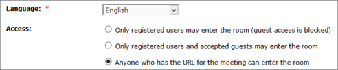 Choose anyone who has the URL for the meeting can enter the room.