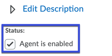 Enable the agent by selecting the checkbox.