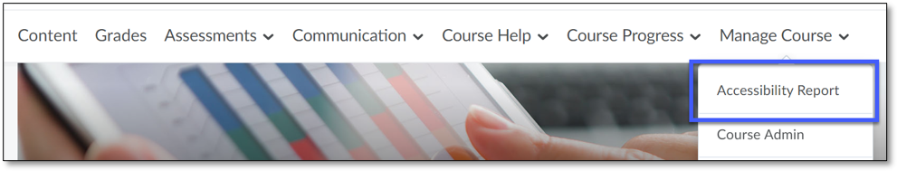 From Manage Course, instructors can select the Accessibility Report.