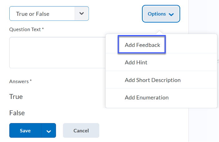 Select Add Feedback from the Options menu.