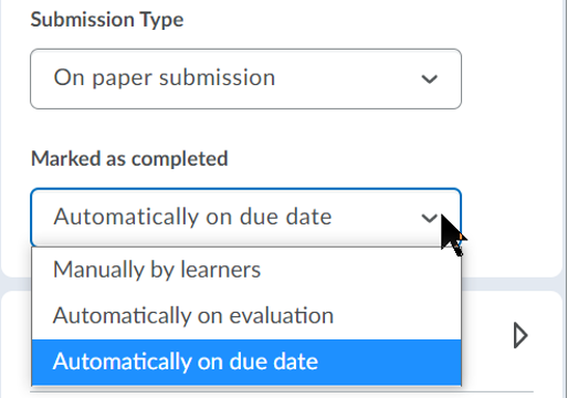 Preferences for Marked as completed, including Manually by learners, Automatically on evaluation, Automatically on due date.