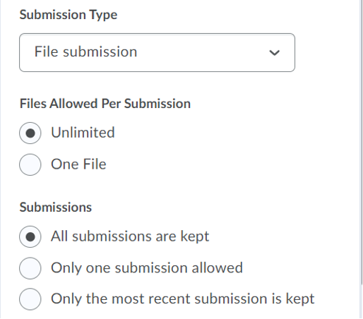 Preferences for File Submission, including Files Allowed and Submissions.