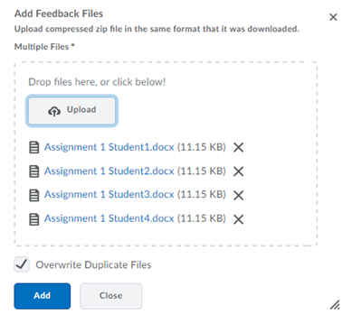 Example preview of files to be uploaded.