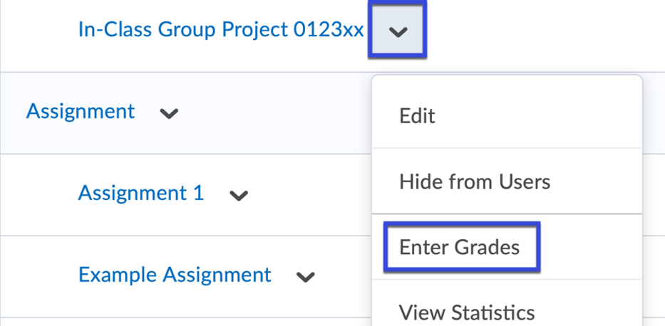 Enter Grades selected from the drop-down menu.