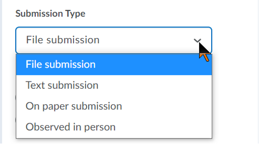 Submission types, File submission, Text submission, On paper submission, and Observed in person.