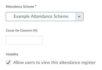 Select an Attendance Scheme.