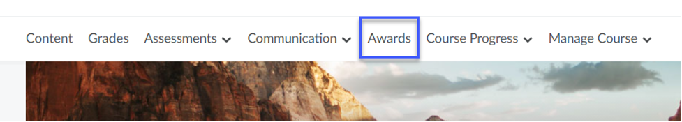 Screenshot of the Awards custom navbar.