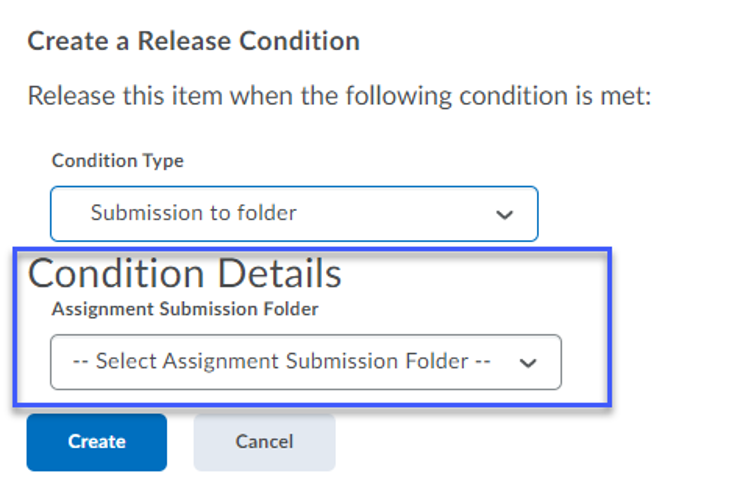 Selecting Conditions Details from the dropdown.