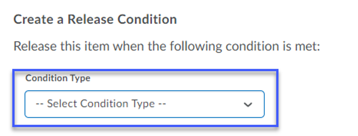 Selecting Release Condition from dropdown.