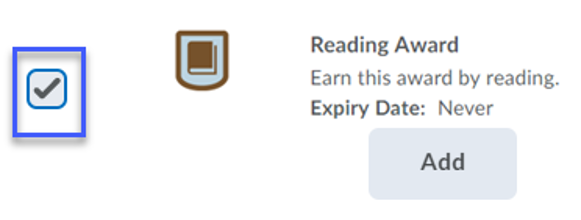 Screenshot highlighting the checkbox next to an example Award.