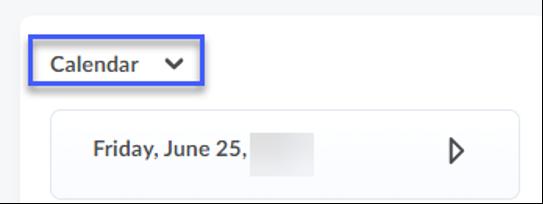 Screenshot highlighting the location of the Calendar.