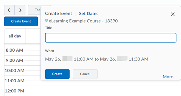 Enter event details in the Create Event dialogue box.