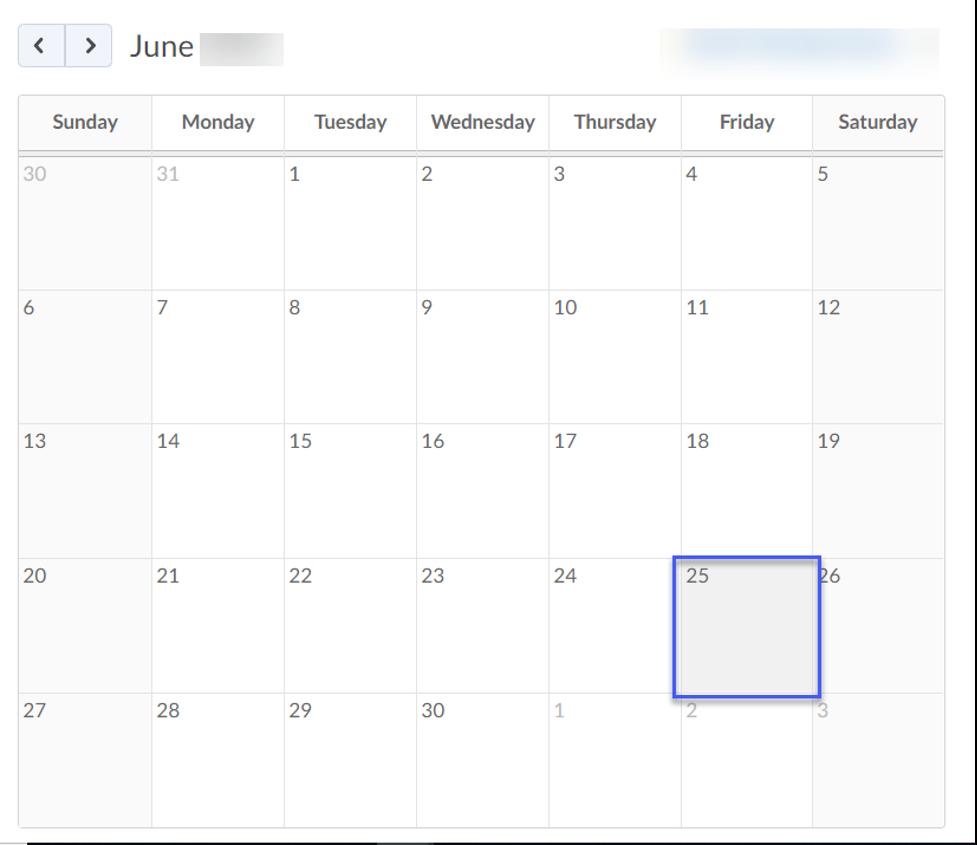 Screenshot of a Calendar showing a date selected.
