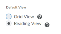 Radio button selected for the preferred view.