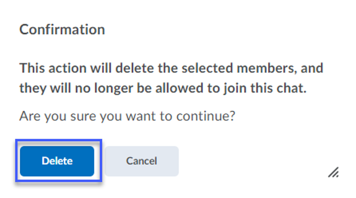 Screenshot of the Confirmation with Delete button highlighted.