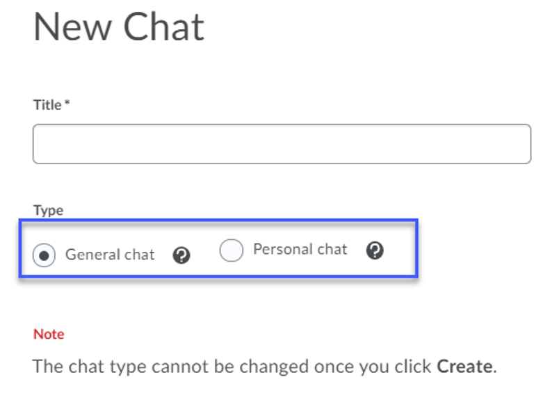 New Chat dialogue window highlighting General Chat and Personal Chat.