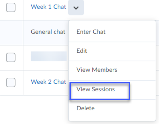View Sessions highlighted.