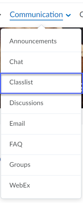 Classlist option selected from the Communication menu on a Desktop or Mobile Device.