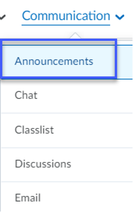 Communication menu dropdown with Announcements selected.