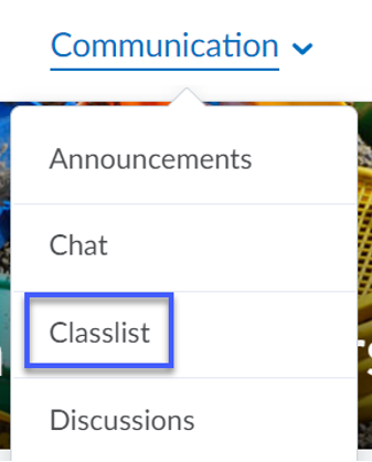 Communication dropdown menu with Classlist selected.