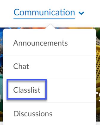 Communication dropdown menu with Classlist selected.