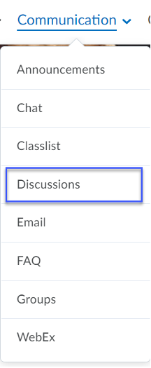 Discussions selected from the Communications menu on a Desktop or Mobile Device.