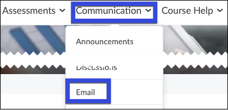 Select the Communication menu and then select Email