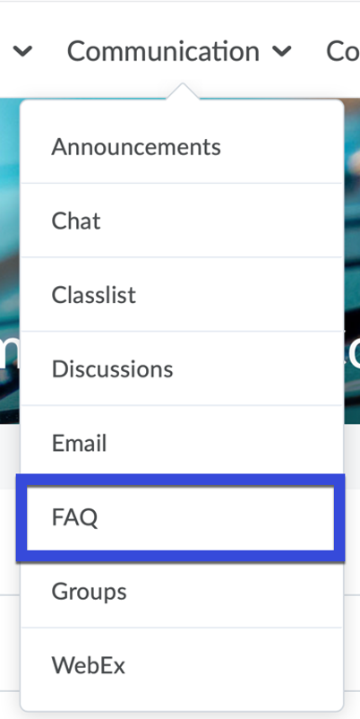 FAQ selected from the Communication Menu.