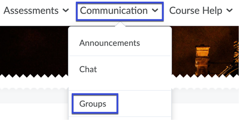 Select Groups from the Communication drop down.