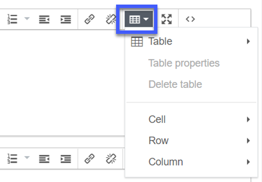 Select the Table drop-down.