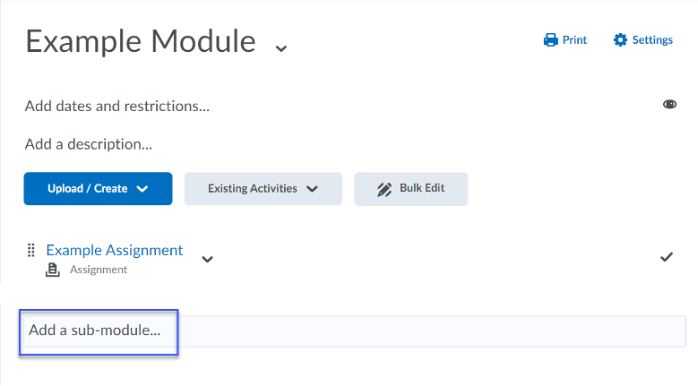 Enter a title for the sub-module in the Add a sub-module textbox.