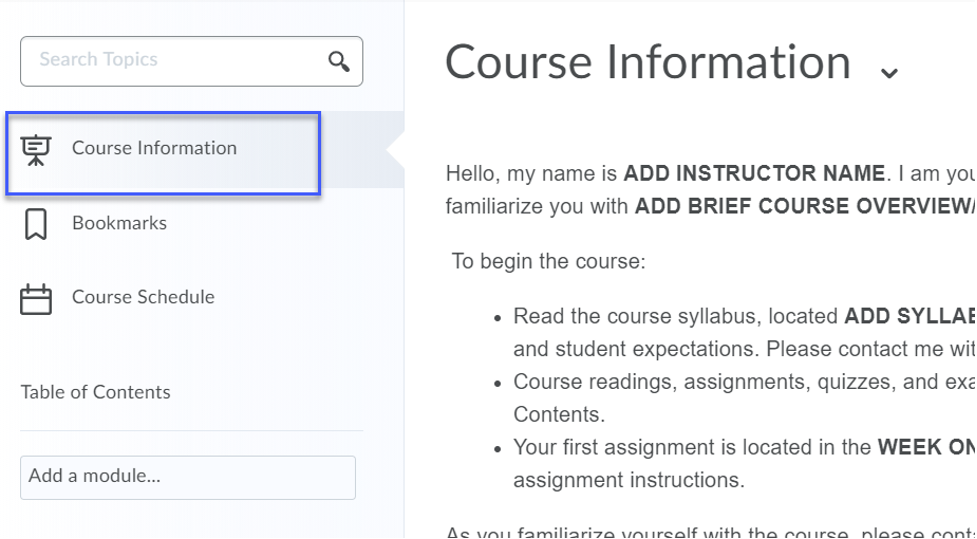 In Content, Course Information is located in the upper left hand corner.