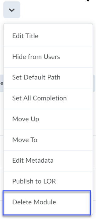 From the drop-down menu, select Delete Module.