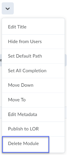 From the list of options, select Delete Topic.